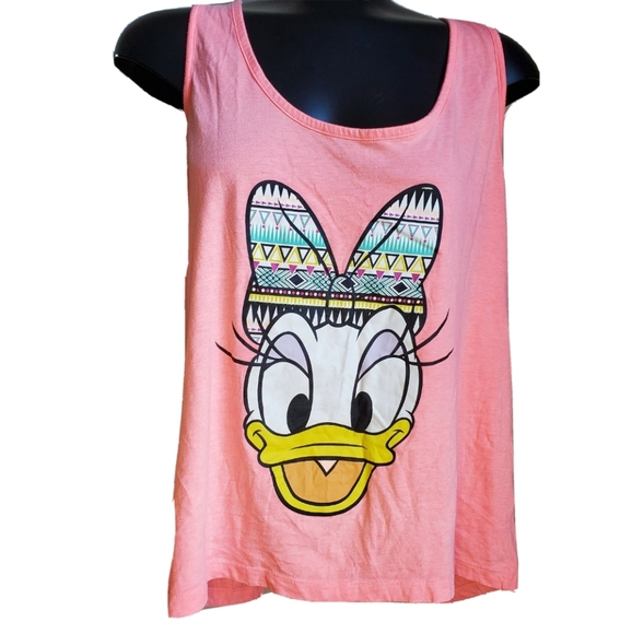 Disney | Daisy Duck Pattern Bow Bright Pink Tank